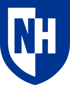"A thick frame of royal blue outlines a shield shape. On the left side, a thick royal blue ""N"" rests on a white shield shape. On the left, a thick white ""H"" rests on a royal blue shield shape that blends into the frame."